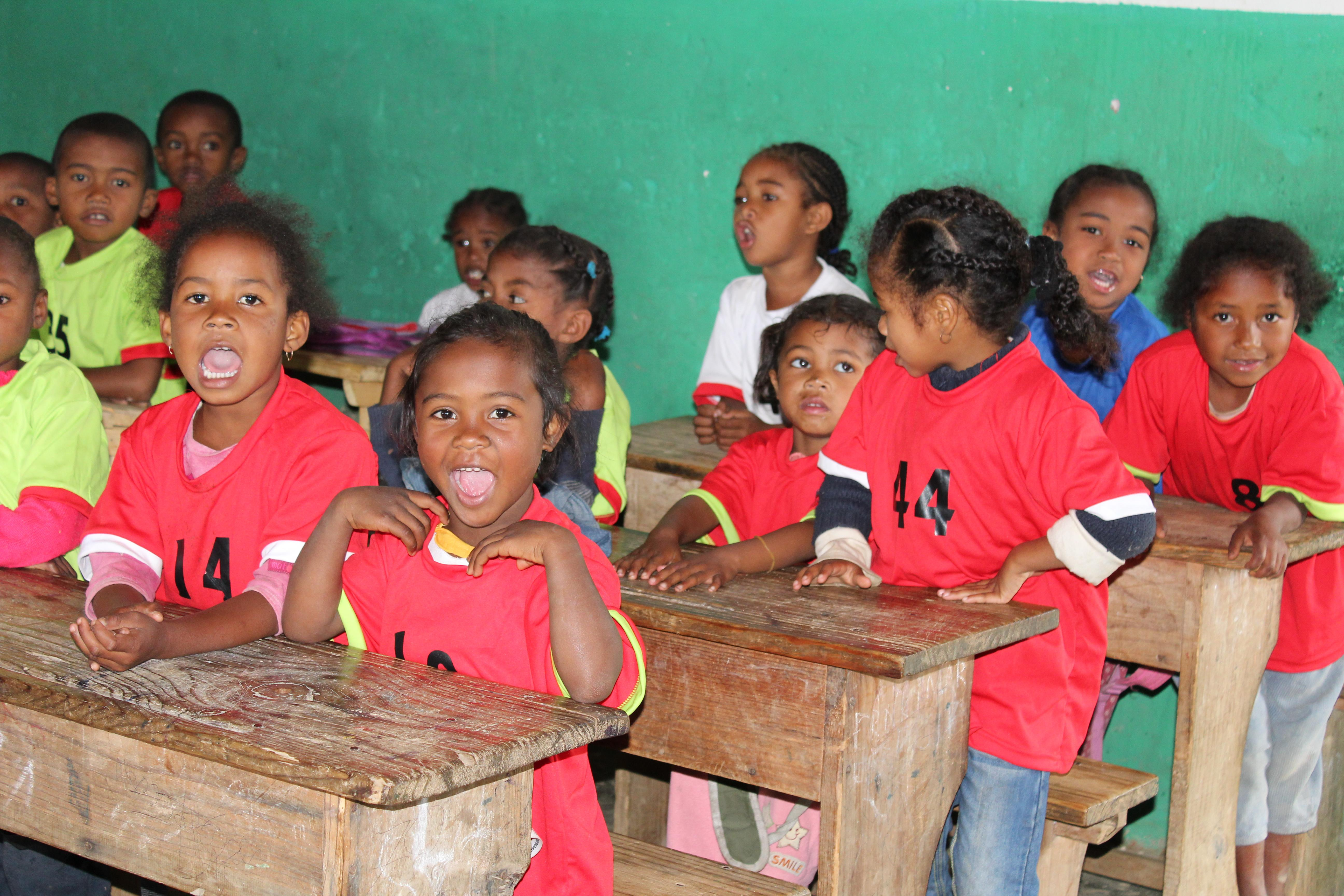 Students sitting in their desks at our volunteer teaching placements in Madagascar